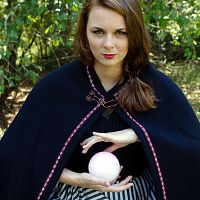 Small Half-Circle Wooly Black Cloak with Red and Black Trim